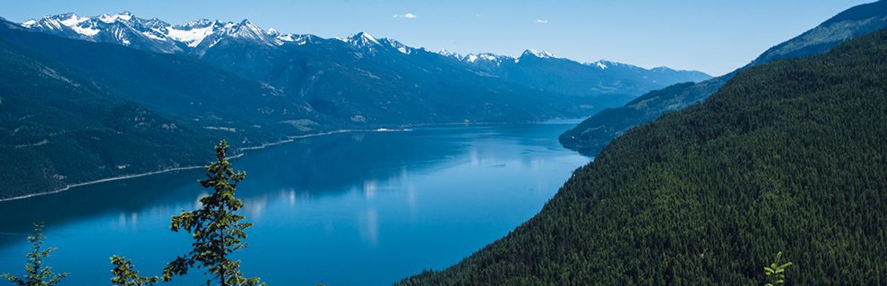 The view of Kootenay Lake from above Lardeau Valley, near Kaslo BC.