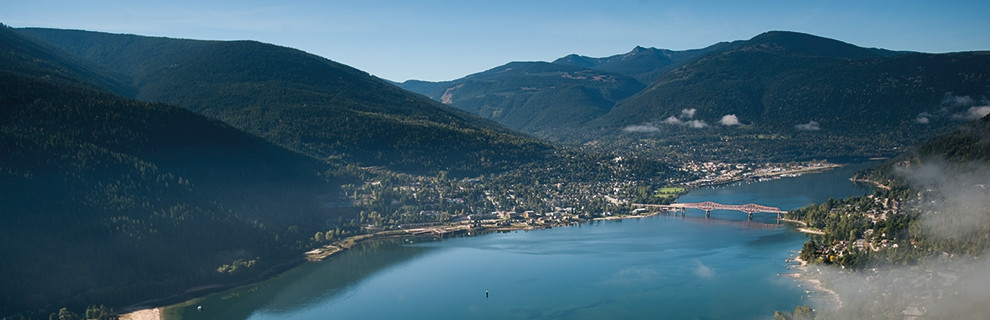 An aerial view of Nelson, BC.