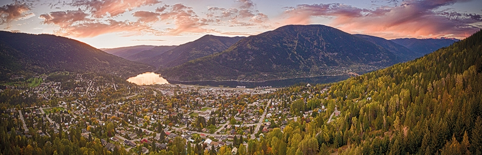 Aerial of Nelson, BC