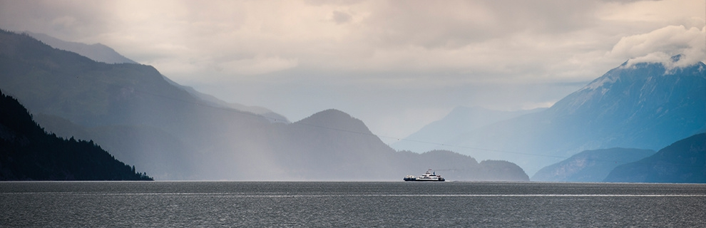 The Kootenay Lake Ferry on a misty day.