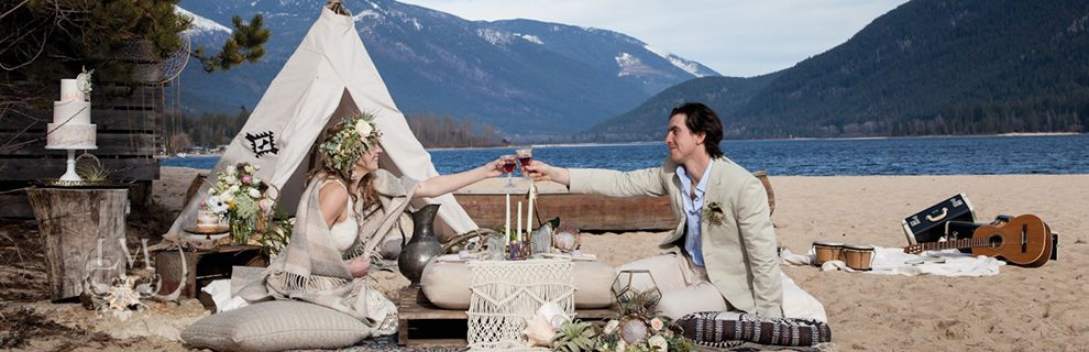 Bride and Groom having a picnic on the shores of Kootenay Lake.
