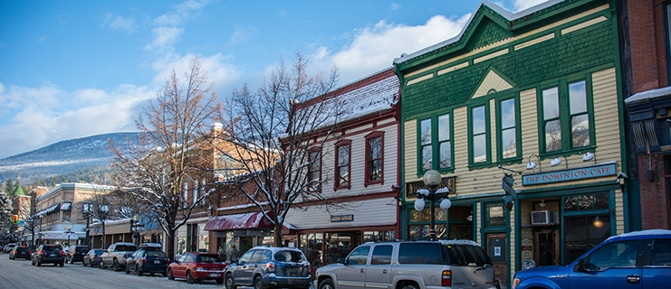Downtown Nelson, BC heritage buildings.