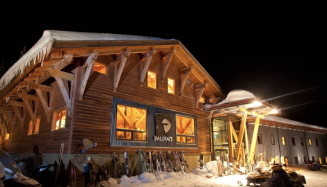 The Balface Lodge lit up at night