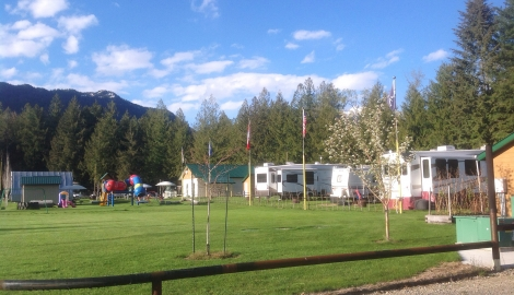 Crawford Bay RV Park with several RVs and playground in view