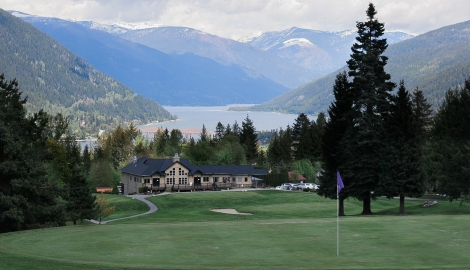 The Clubhouse and View of Kootenay Lake at Granite Pointe Golf Club