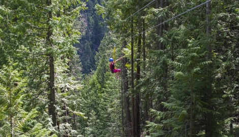 young girl in pink zip-lining through the forest in Kokanee Provincial Park