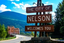 Welcome sign to Nelson BC