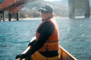 Amy Bohigian paddling on Kootenay Lake in Nelson BC